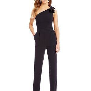 Eliza J One Shoulder velvet bow jumpsuit black